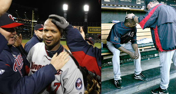 The two sides of Liriano - celebrating a no hitter and biting his jersey in the dugout